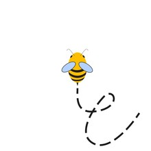 Busy Bee. Abstract Flying Bee And Track Top View. Vector Illustration