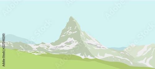 Printed kitchen splashbacks Light blue Mountain Matterhorn landscape. Glaciers on mountain, green valley, blue sky. Swiss Alps and Matterhorn mountain. Switzerland landscape. Vector illustration.