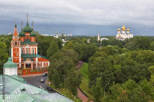 Fényképezés  Church of Archangel Michael in Yaroslavl, top view, Golden Ring of Russia