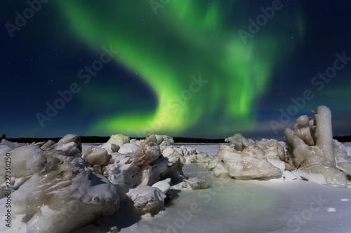 Poster Aurore polaire Green Aurora borealis , Russia