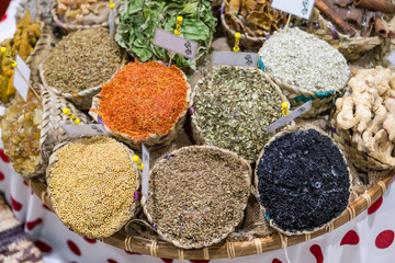 Dried herbs and spices at the spice local souq in Abu Dhabi, UAE