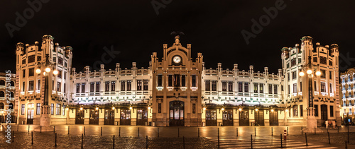 In de dag Treinstation North Station most important train station in Valencia rail transport, Estacion del Norte Spain wide angle, city lights lighting, night view panorama