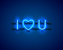 Neon Text I Love You Signboard On The Blue Background. Vector Illustration