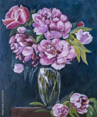 Fotografía still life of flowers, chrysanthemums in a vase, oil painting