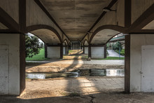 Perspective Construction From Under The Bridge Architecture Symmetry