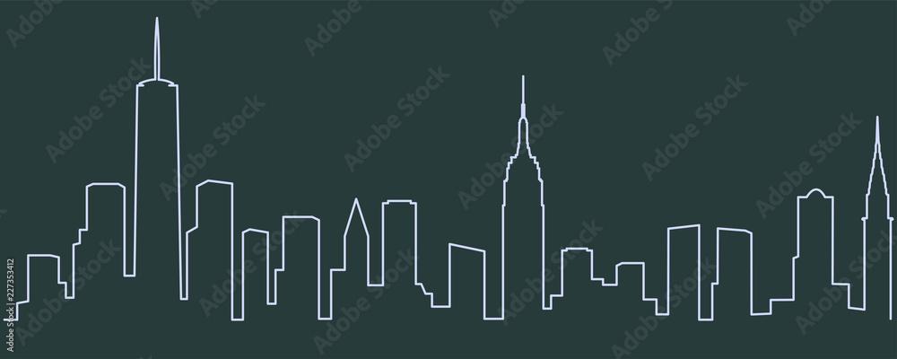Fototapety, obrazy: New York Single Line Skyline