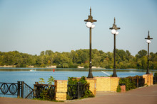 River Embankment, Forged Fence And Lamp Posts