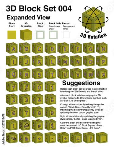 3d baby building blocks alphabet template buy this stock vector