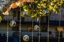 Ideas For Wedding Décor - Decorative Discoballs And Glass Beads Hanging