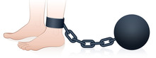 Prison Ball And Chain. Chained Male Foot. Isolated Comic Vector Illustration On White Background.