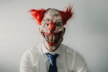 Closeup Of A Scary Evil Clown ...