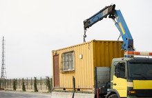 Crane Truck Unloading Portable Workers House Container Booth, Outdoors