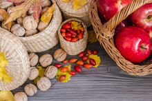 Walnuts, Red Apples In Basket,...
