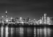 Black and White Chicago Skyline at Night