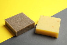 Hand Made Soap Bars On Color Background
