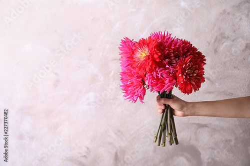 Woman holding beautiful dahlia flowers on color background. Space for text