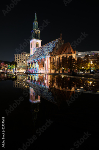 In de dag Centraal Europa Berlin at night - Illuminated landmark , St. Mary`s Church / Marienkirche