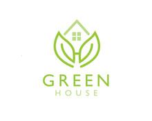 Green House, Leaf House, H Initial Logo Design Inspiration