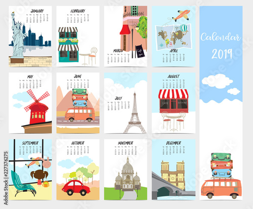 Cute Monthly Calendar 2019 With Travel Vacation Van Air Plane And