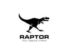 Running Raptor Dinosaurs Logo
