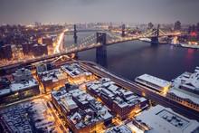 Brooklyn Bridge In Snow Covered NYC