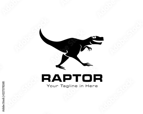 Fotografie, Obraz Running raptor dinosaurs logo