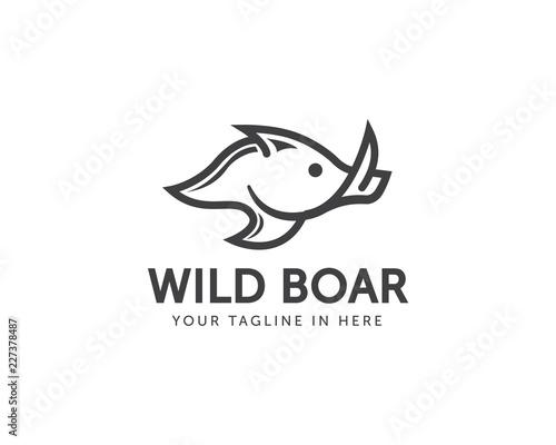 line art Wild boar logo design Fototapeta