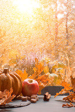 Autumn Background With Pumpkins And Dry Leaves On A Window Board On A Rainy Day