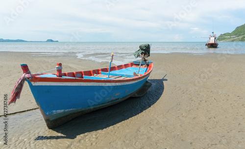 Blue Fishing Boat on Sam Roi Yod Beach Prachuap Khiri Khan Thailand Left 3