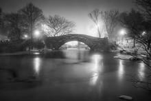 Bridge Over Frozen Lake In Central Park