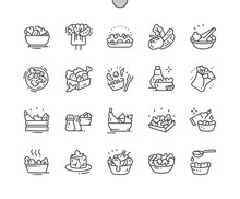 Salads Well-crafted Pixel Perfect Vector Thin Line Icons 30 2x Grid For Web Graphics And Apps. Simple Minimal Pictogram