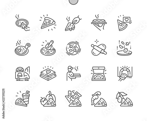 Pizza Well-crafted Pixel Perfect Vector Thin Line Icons 30 2x Grid for Web Graphics and Apps. Simple Minimal Pictogram