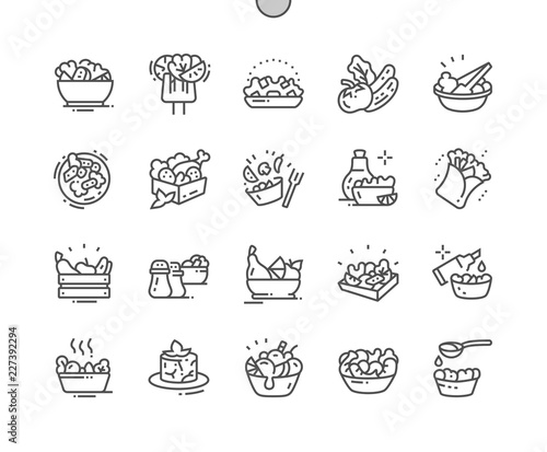 Cuadros en Lienzo Salads Well-crafted Pixel Perfect Vector Thin Line Icons 30 2x Grid for Web Graphics and Apps