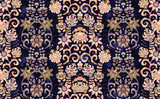 Seamless vector ornament with oriental pattern with hand draw flowers. Floral wallpaper. Decorative ornament for fabric, textile, wrapping paper. Pink on dark blue