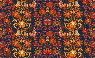 Seamless vector ornament with oriental pattern with hand draw flowers. Floral wallpaper. Decorative ornament for fabric, textile, wrapping paper. Orange on dark blue