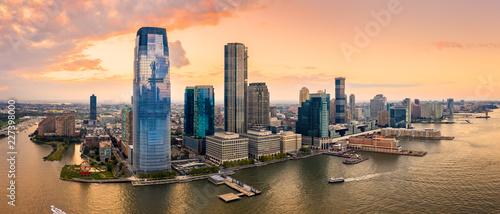 Aerial panorama of Jersey City skyline at sunset. Fototapet