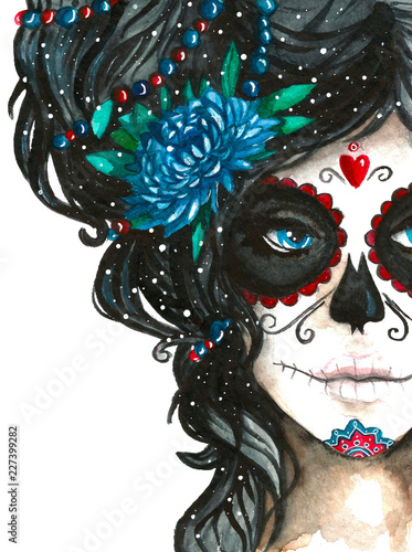 Tableau sur Toile mexican catrina scull illustration in watercolor style
