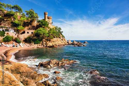 Beautiful summertime travel destination on Balearic coast of Spain, the town of Lloret de Mar