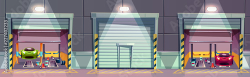 Fototapeta Vector cartoon mechanic box with car on lift, repairing of the vehicle. Fixing sport transport in garage. Storeroom with tools, parts and details. Background with automobile service with roll door. obraz