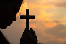 Woman Hands Praying To God With The Bible. Woman Pray For God Blessing To Wishing Have A Better Life. Christian Life Crisis Prayer To God.