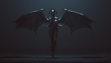 Sexy Winged Devil Woman In A F...