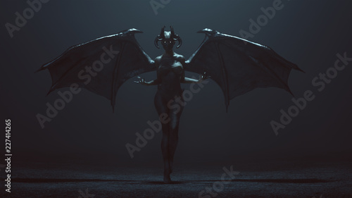 Tableau sur Toile Sexy Winged Devil Woman in a foggy void 3d Illustration 3d render