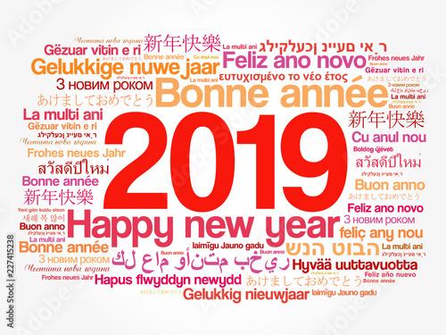 Fotografia, Obraz  2019 Happy New Year in different languages, celebration word cloud greeting card