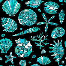 Marine Seamless Pattern, Ornate Seashells For Your Design
