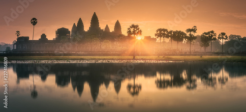 Sunrise view of ancient temple complex Angkor Wat Siem Reap, Cambodia Wallpaper Mural