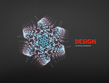 Snowflakes. 3d Connection Structure. Futuristic Technology Style. Low-poly Element For Design. Vector Illustration For Science, Chemistry Or Education.