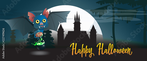 Canvas Prints Fairytale World Happy Halloween poster with cartoon bat. Creative inscription with cartoon bat, poison witch kettle, gothic castle, huge white moon. Lettering can be used for invitations.