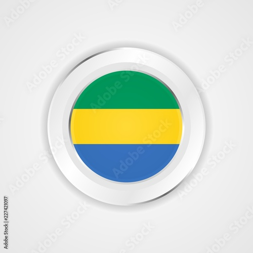 Fotografie, Obraz  Gabon flag in glossy vector icon.