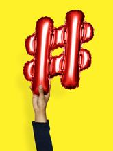 Hand Holding Balloon Hashtag Symbol #