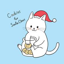 Cartoon Cute Christmas  Cat Ea...